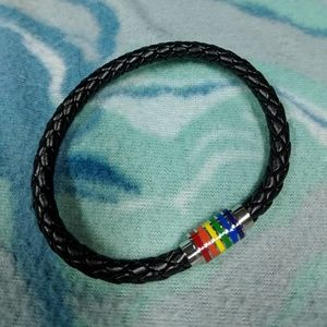 Jewelry - LGBT Pride Rainbow Bracelet Leather NWOT